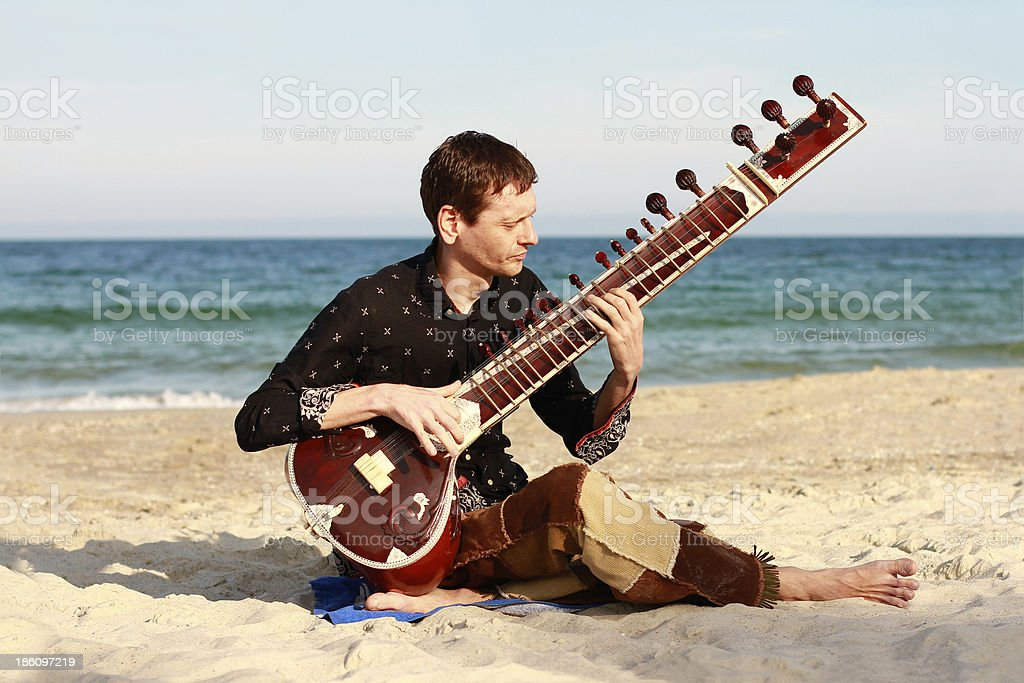 Man plays the sitar stock photo