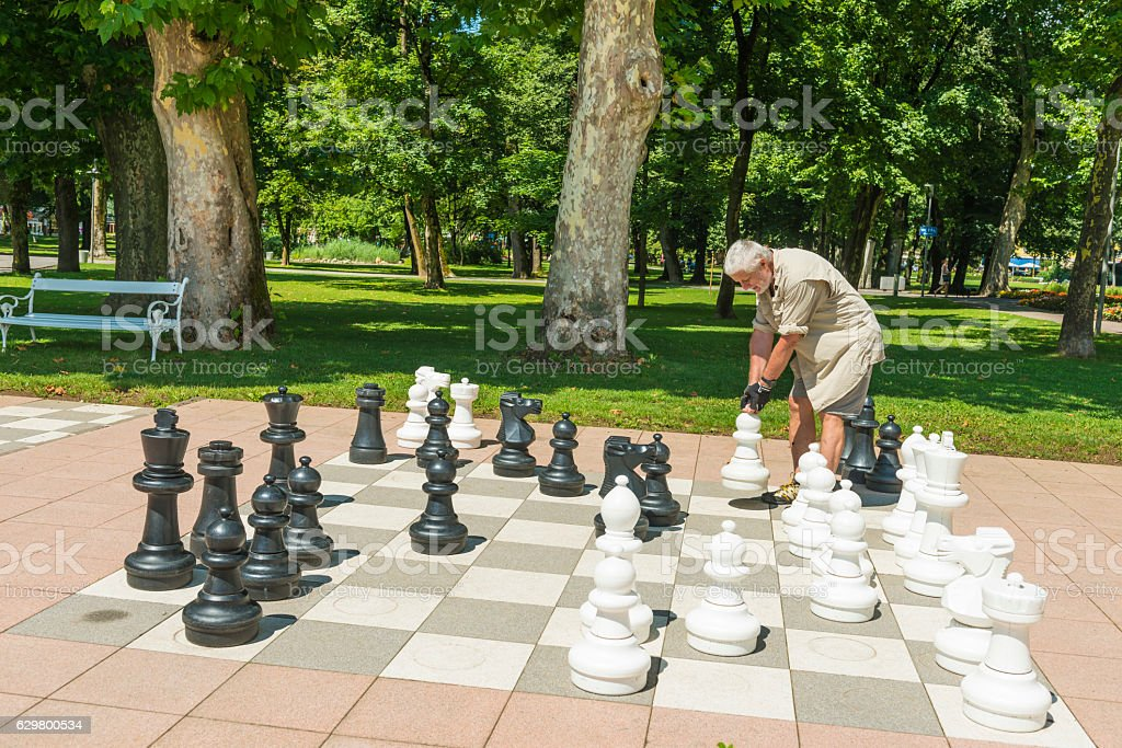 Man plying chess in park in Spittal, Austria stock photo