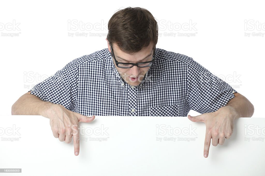 Man pointing at a placard royalty-free stock photo