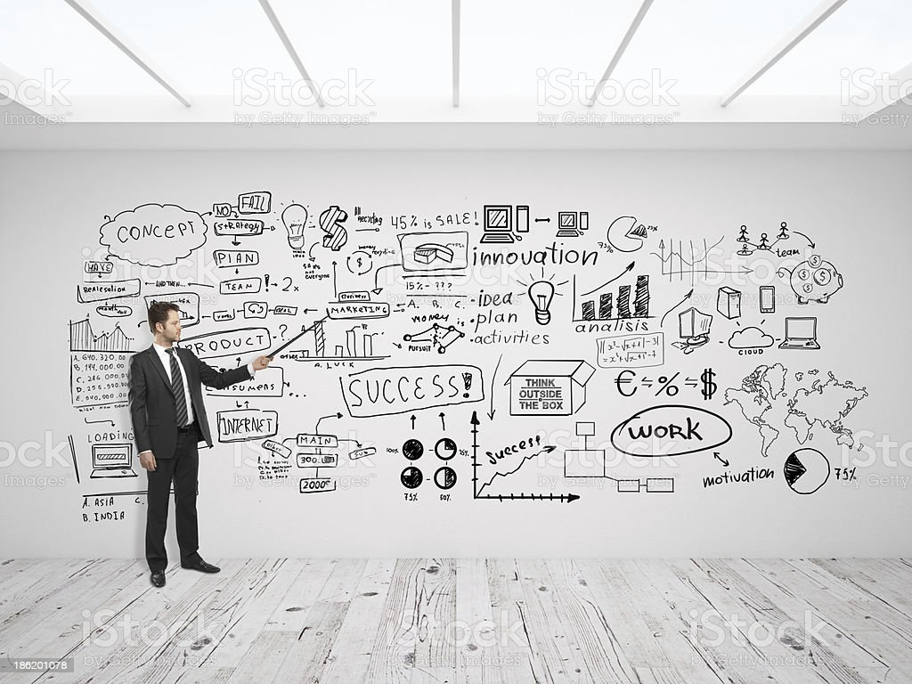 man pointing at business concept stock photo