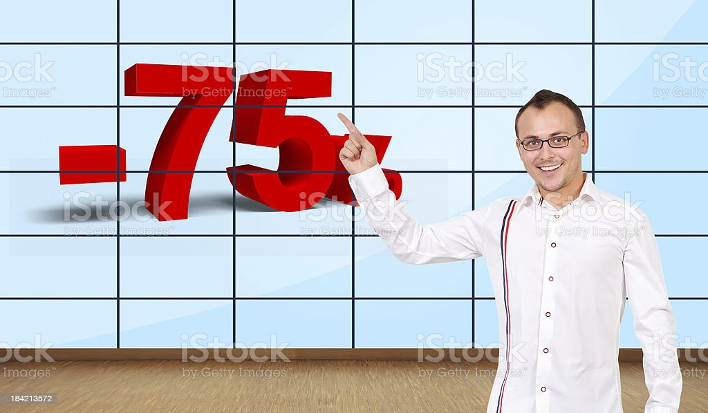 man pointing at discount royalty-free stock photo