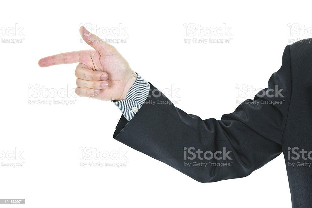 Man pointing finger stock photo