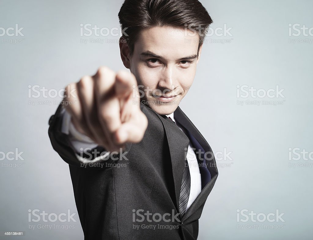 Man pointing finger stock photo