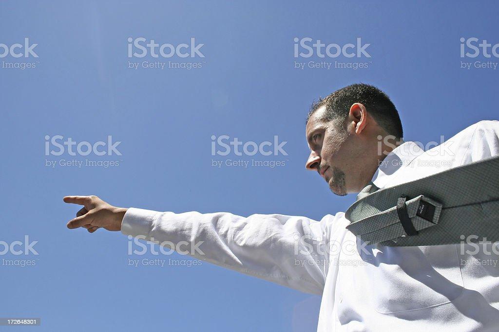 Homme pointant pour construire le futur! photo libre de droits