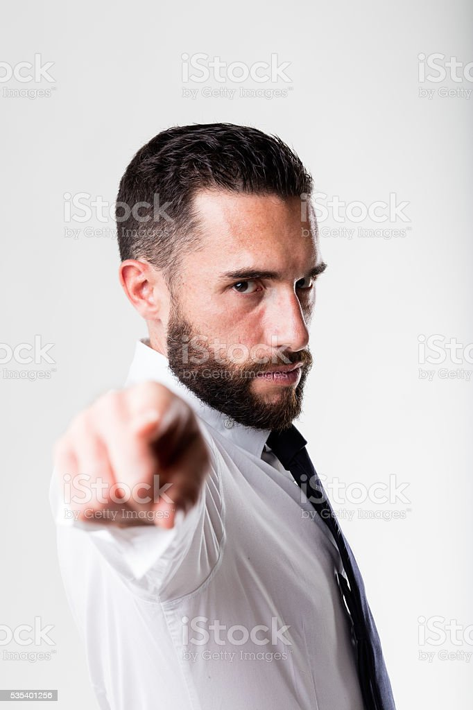 man (boss) pointing out to you stock photo
