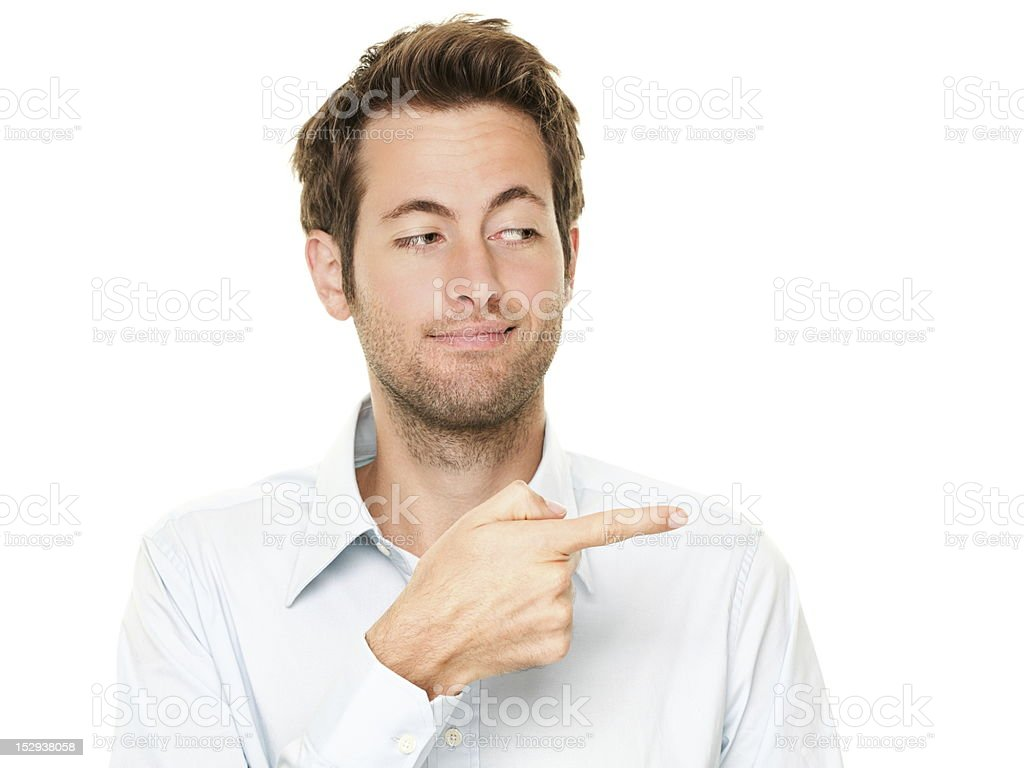 Man pointing stock photo