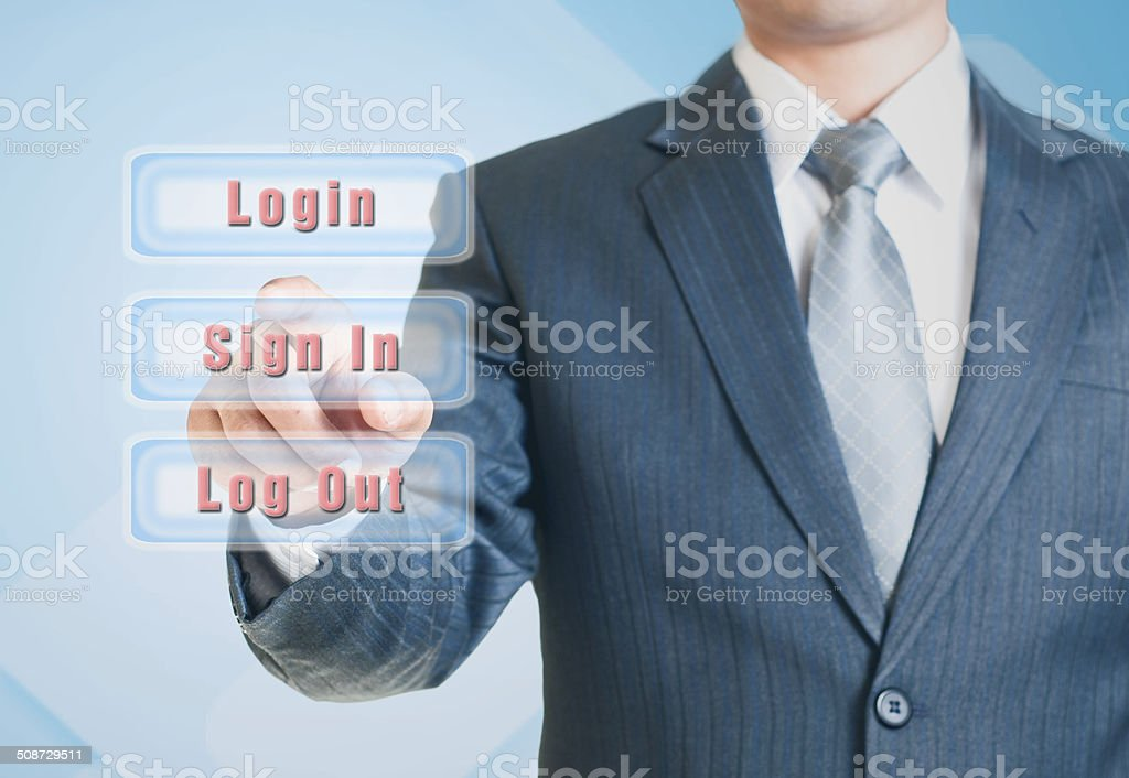 Man pointing the sign-in option stock photo