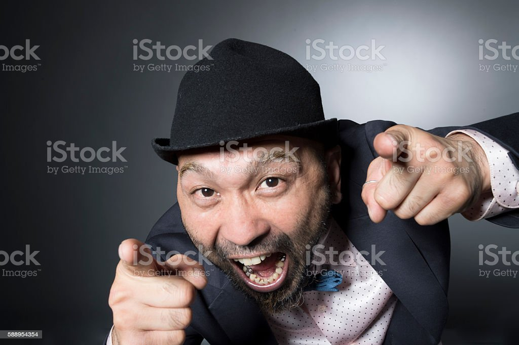 Man pointing to the location should be noted index finger stock photo