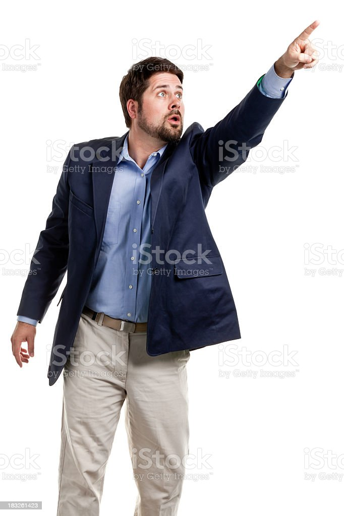 Man Pointing Up And Watching royalty-free stock photo