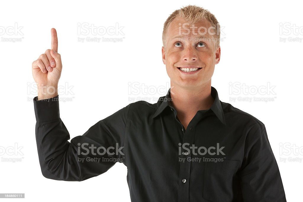 Man pointing upward with finger royalty-free stock photo
