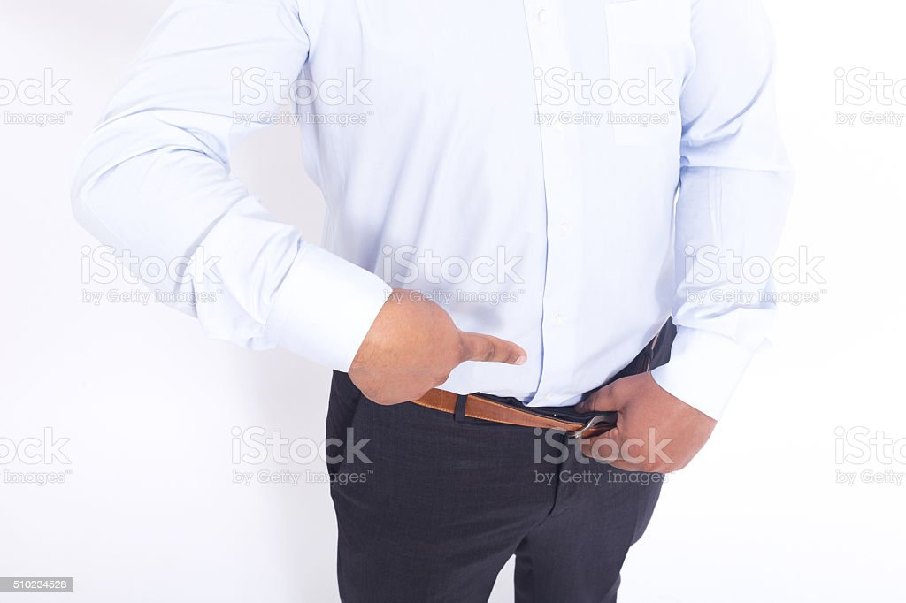 Man pointing with finger stock photo
