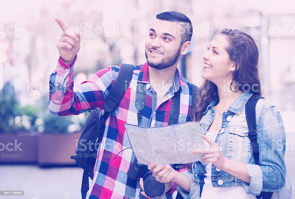 Man points the direction stock photo
