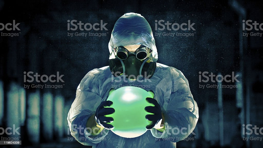 man portrait in respirator royalty-free stock photo