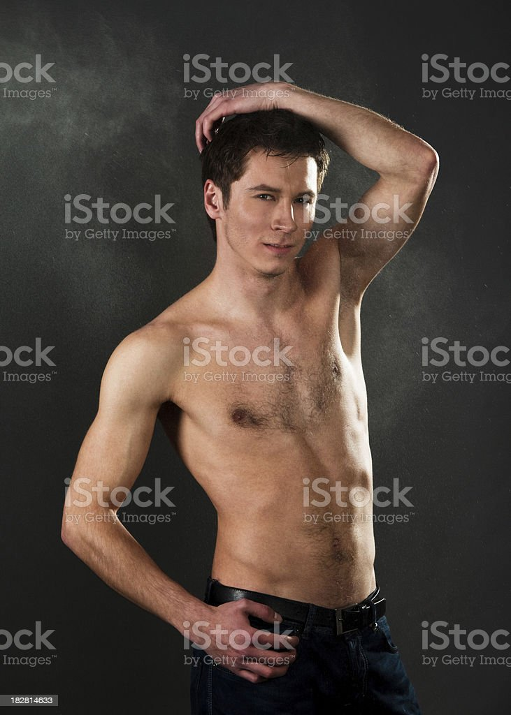 Man portrait in spray royalty-free stock photo