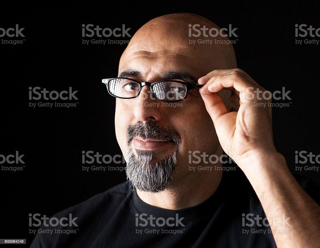 Man portrait on black background stock photo