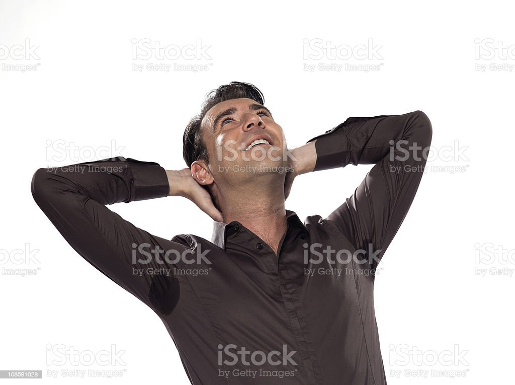 Man Portrait sweat perspiring stock photo