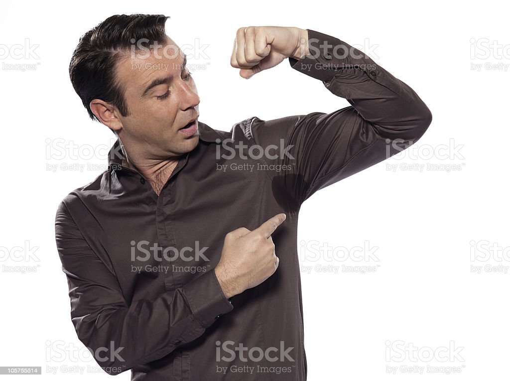 Man Portrait sweat stain perspiring royalty-free stock photo