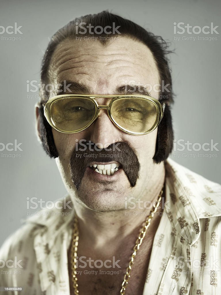 Man portrait wearing fake mustache royalty-free stock photo