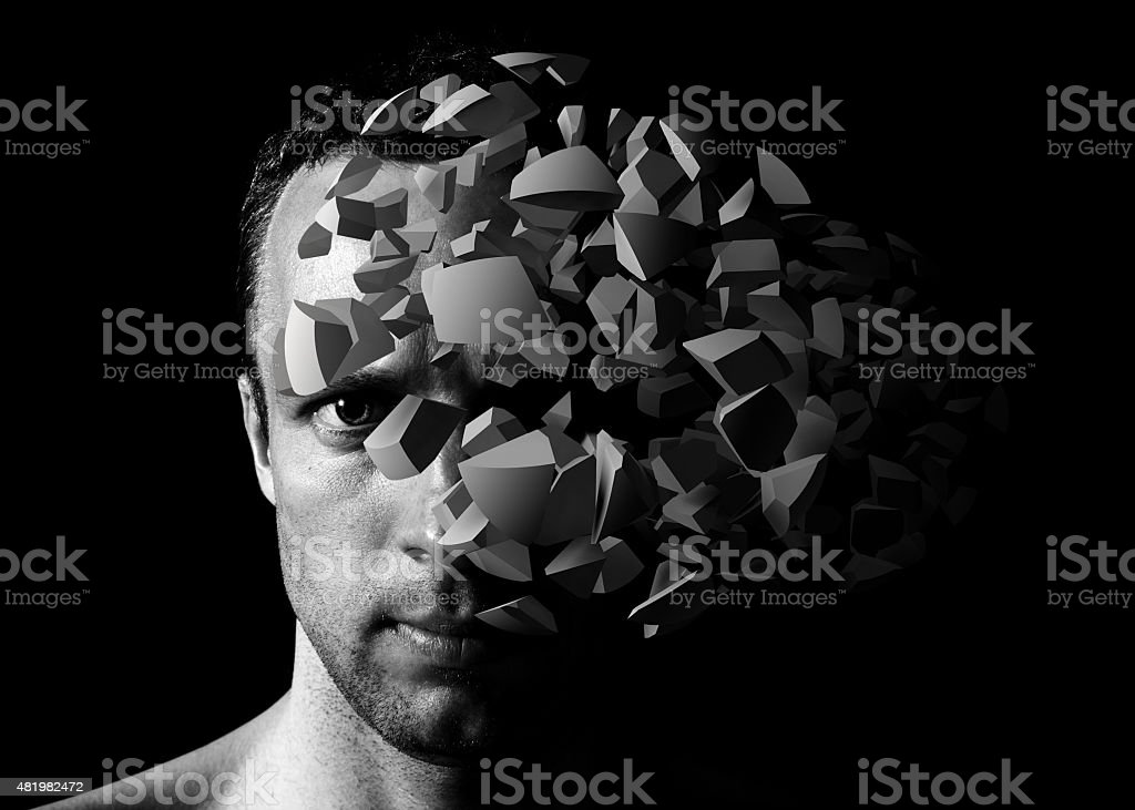 Man portrait with 3d explosion fragments stock photo
