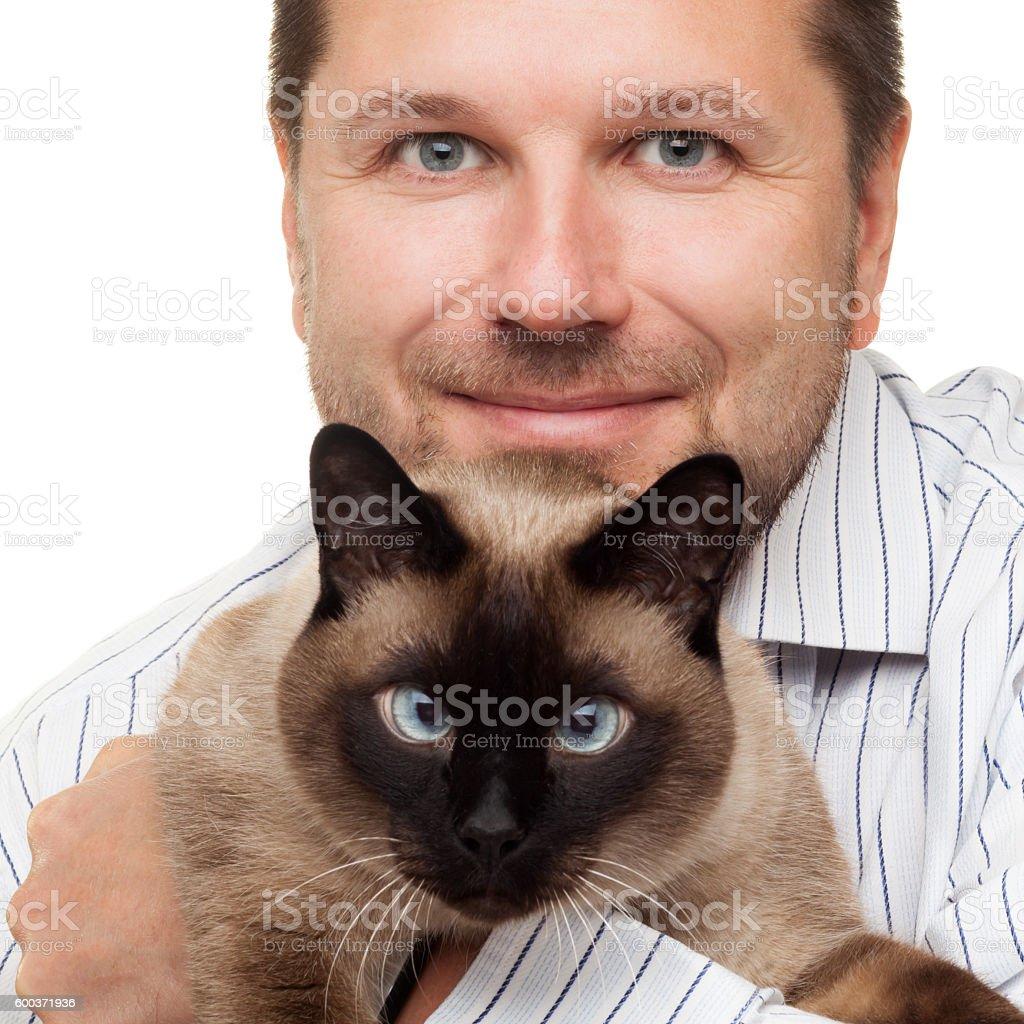 Man portrait with cat stock photo