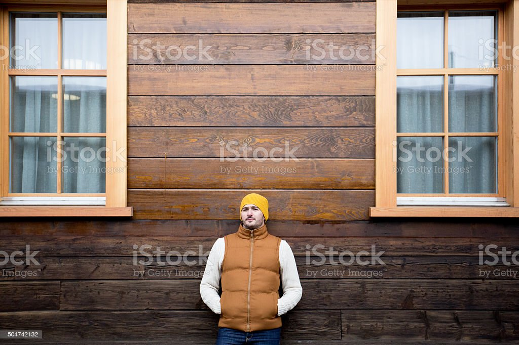 Man posing in warm clothing stock photo