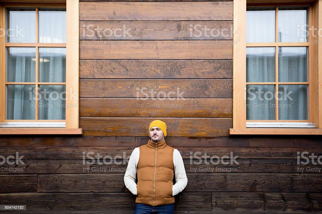 Man posing in warm clothing stock photo