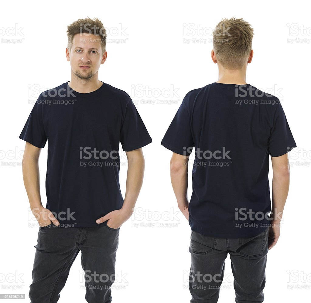 Man posing with blank dark blue shirt stock photo