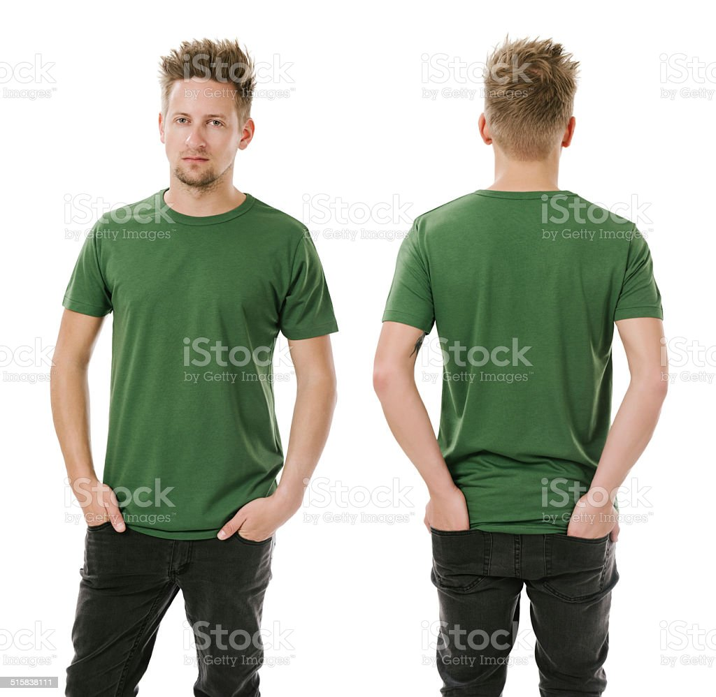 Man posing with blank green shirt stock photo