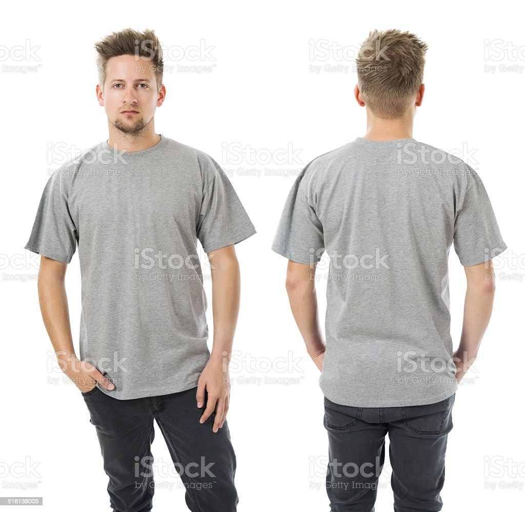 Man posing with blank grey shirt stock photo
