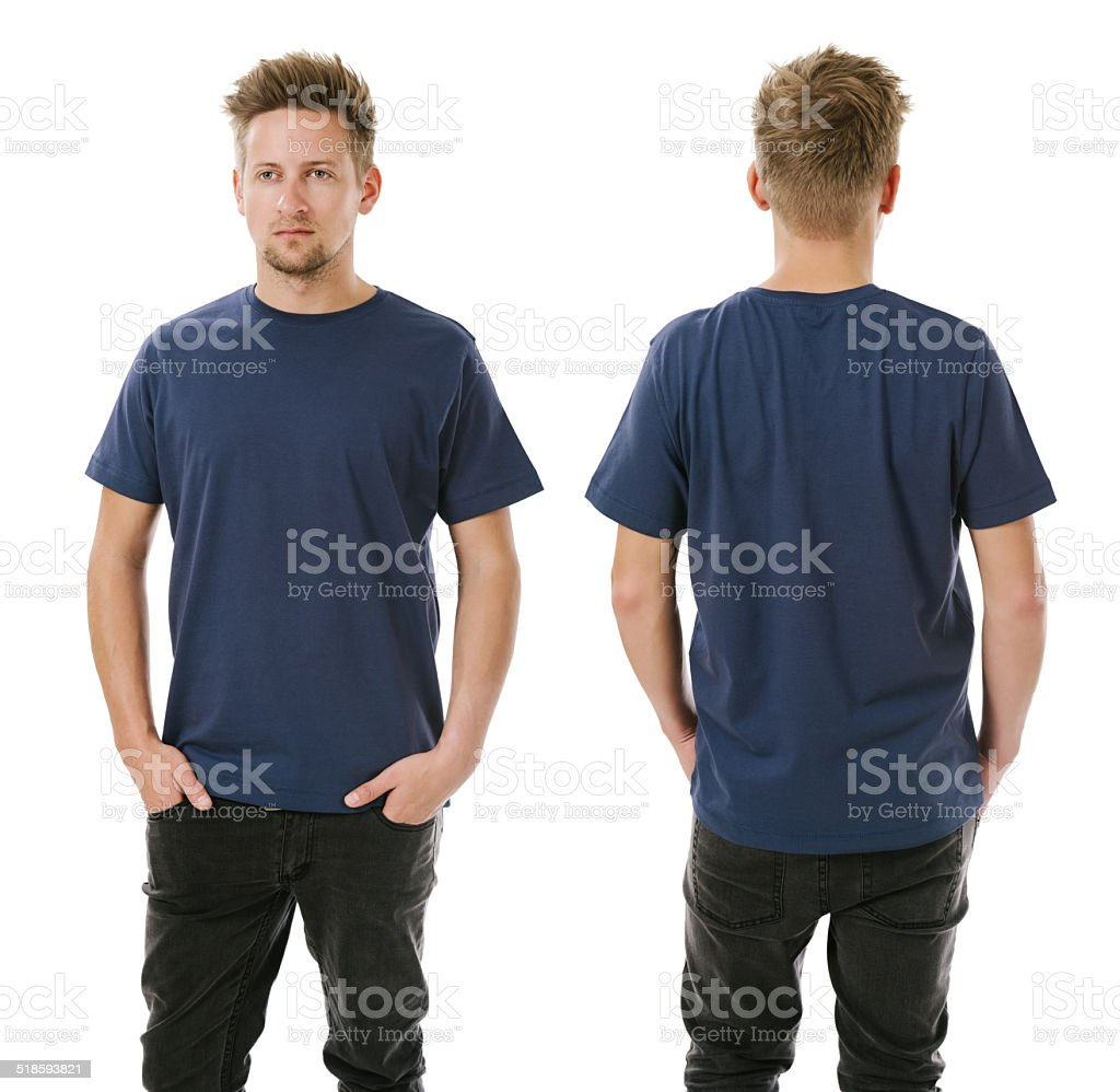 Man posing with blank navy blue shirt stock photo