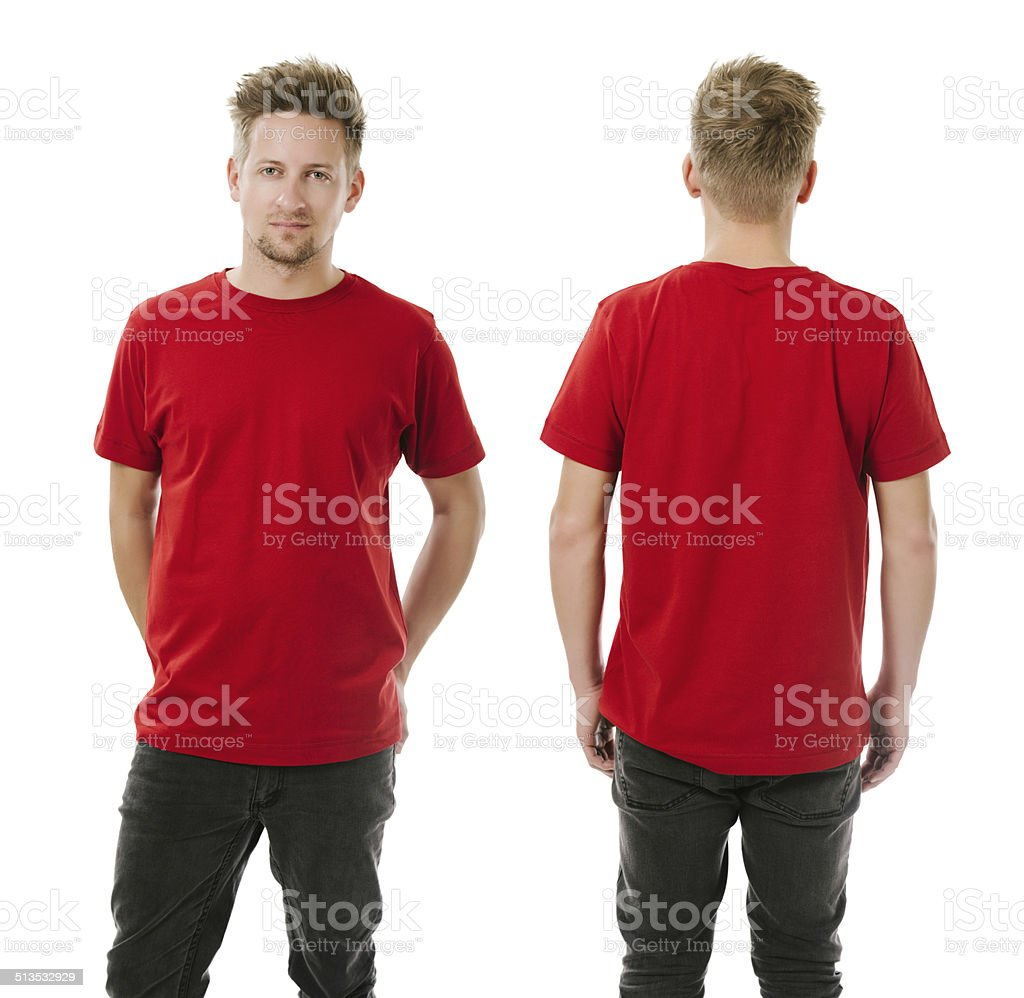 Man posing with blank red shirt stock photo