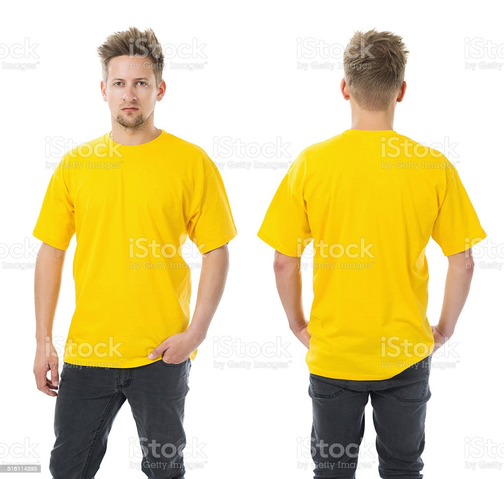 Man posing with blank yellow shirt stock photo