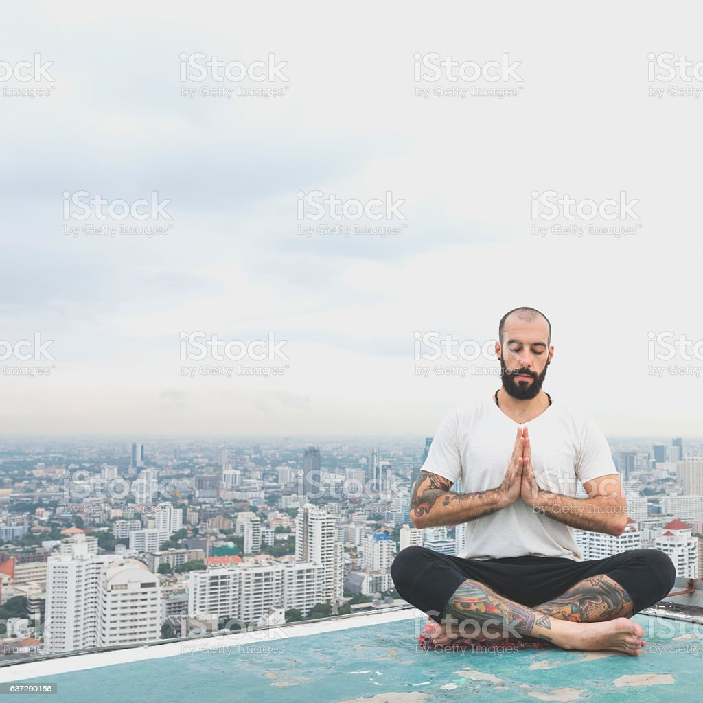 Man Practice Yoga Rooftop Concept stock photo