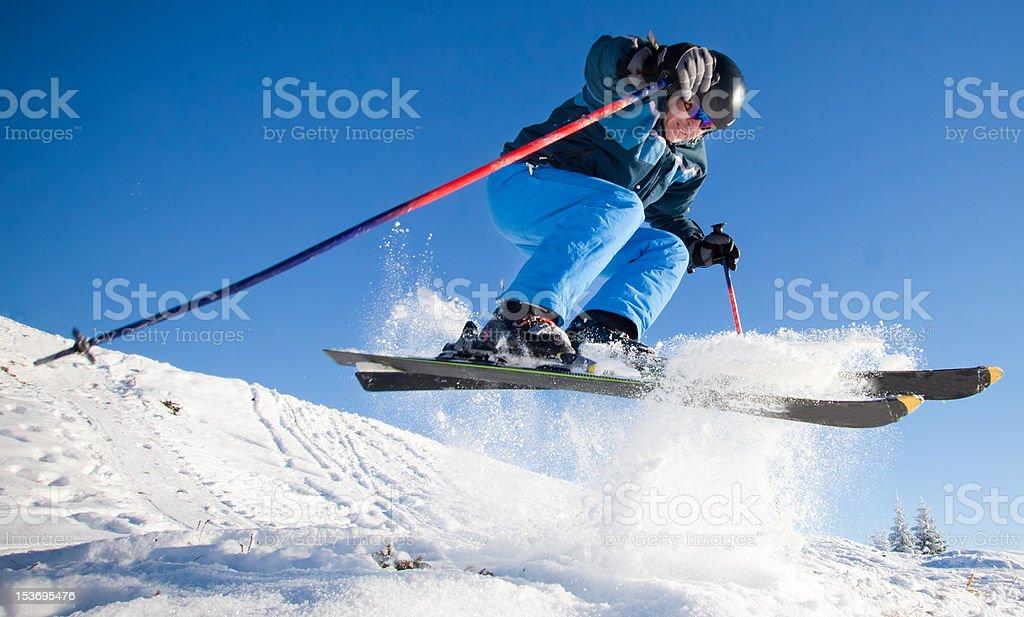 Man practicing extreme ski on sunny day royalty-free stock photo