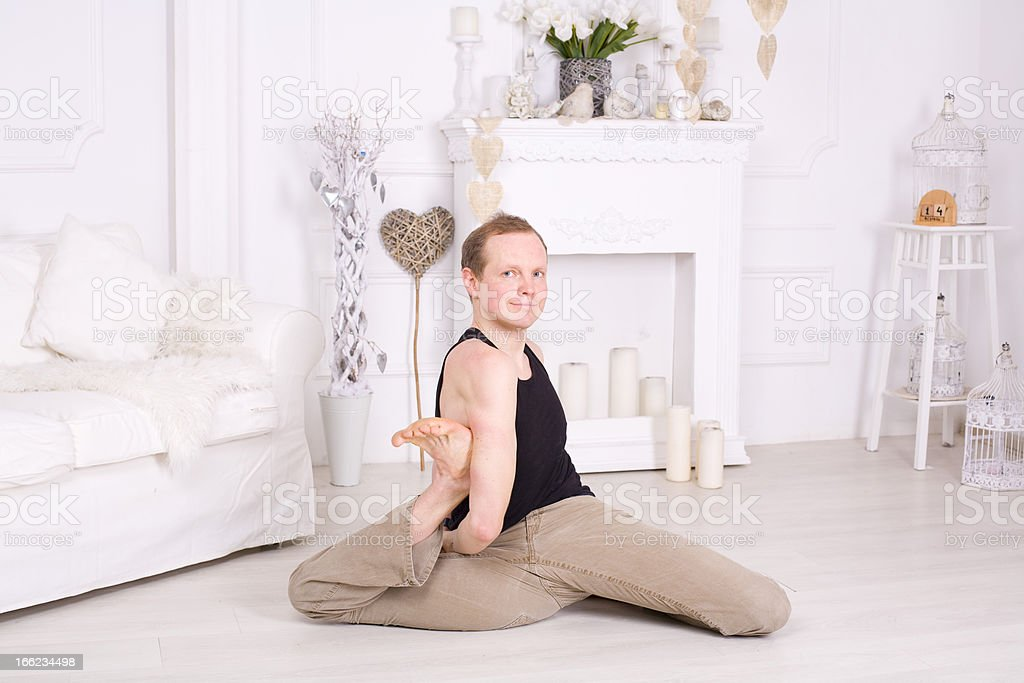 Man practising yoga royalty-free stock photo