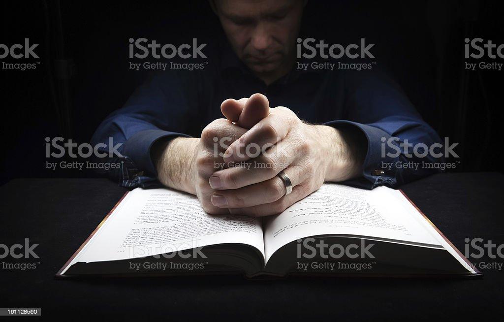 Man praying to God royalty-free stock photo