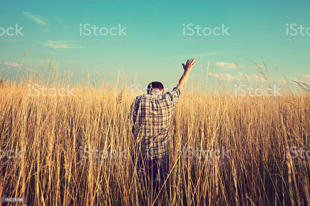 Man prays to God royalty-free stock photo