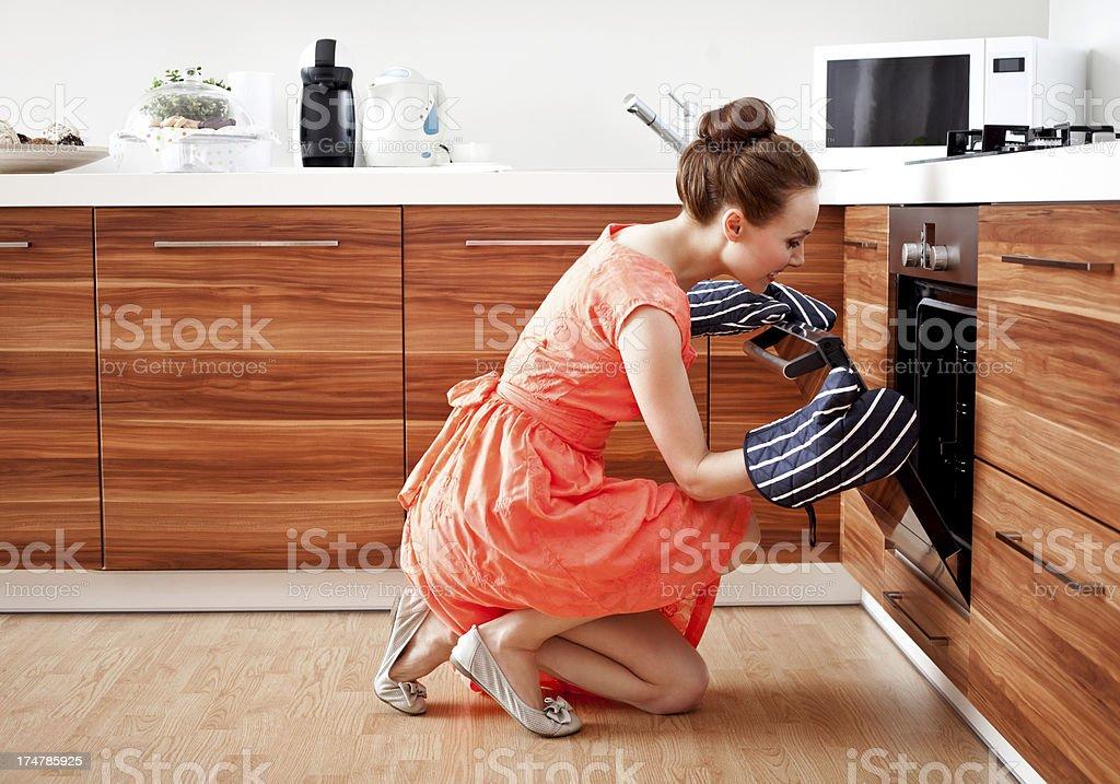 Man preparing dinner stock photo