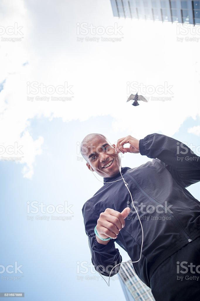 Man Preparing for Fitness Run in the City stock photo