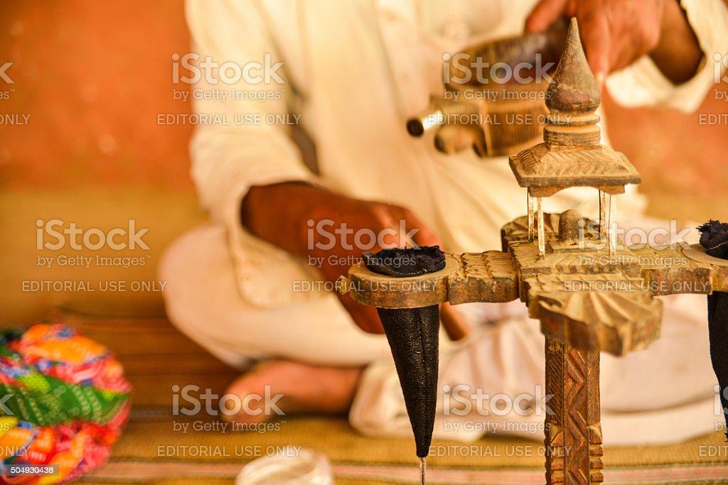 Man Preparing Opium, Salawas Village, India stock photo