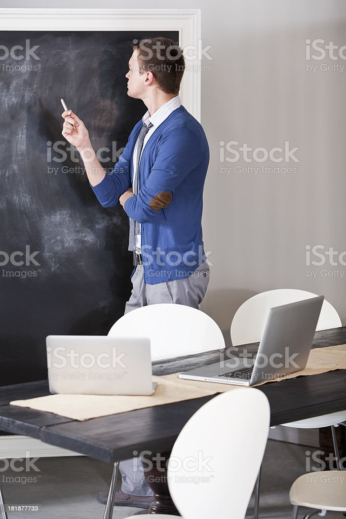 Man preparing presentation stock photo