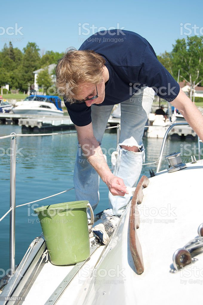 Man Preparing Sailboat royalty-free stock photo