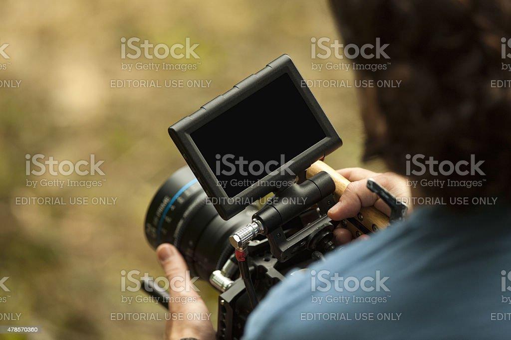 Man Preparing to Film a Short Film stock photo