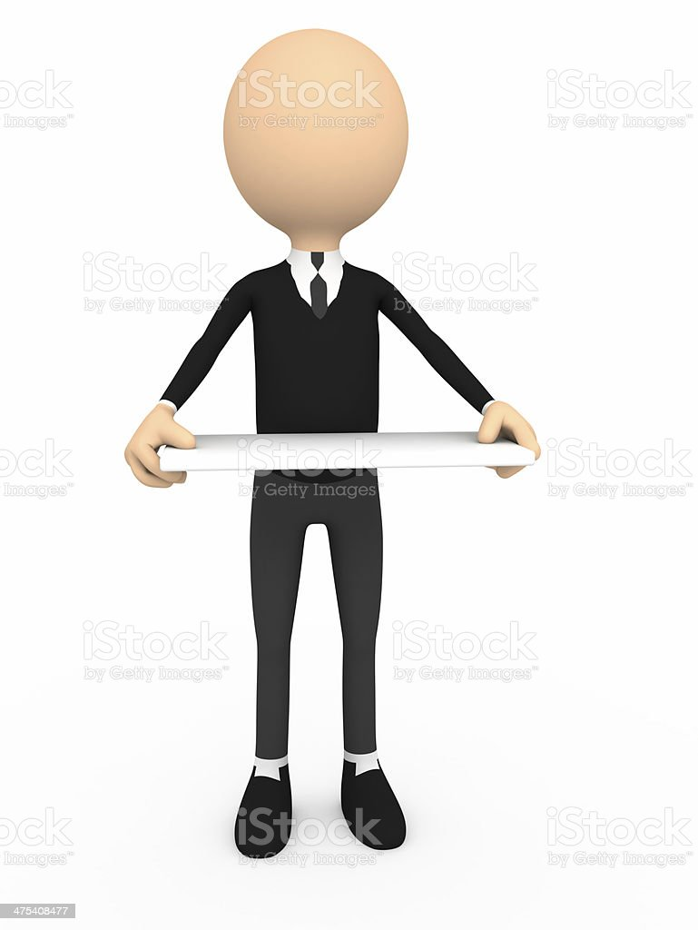Man presenting your product stock photo