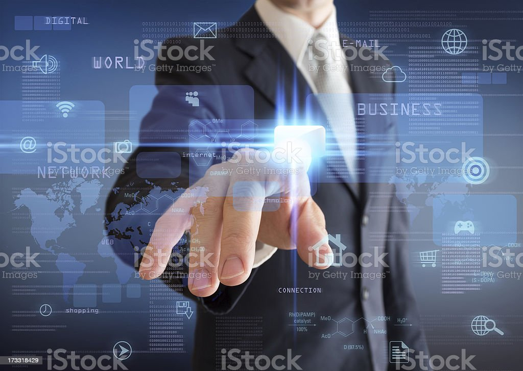 man pressing a multimedia computer display stock photo