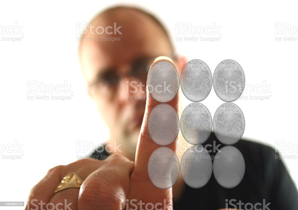 Man pressing keypad royalty-free stock photo