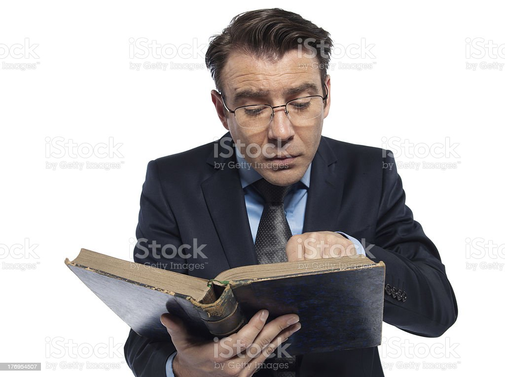 man professor reading ancient book stock photo