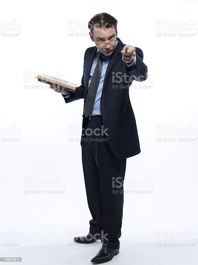 man professor teaching beckoning pointing attention holding book royalty-free stock photo