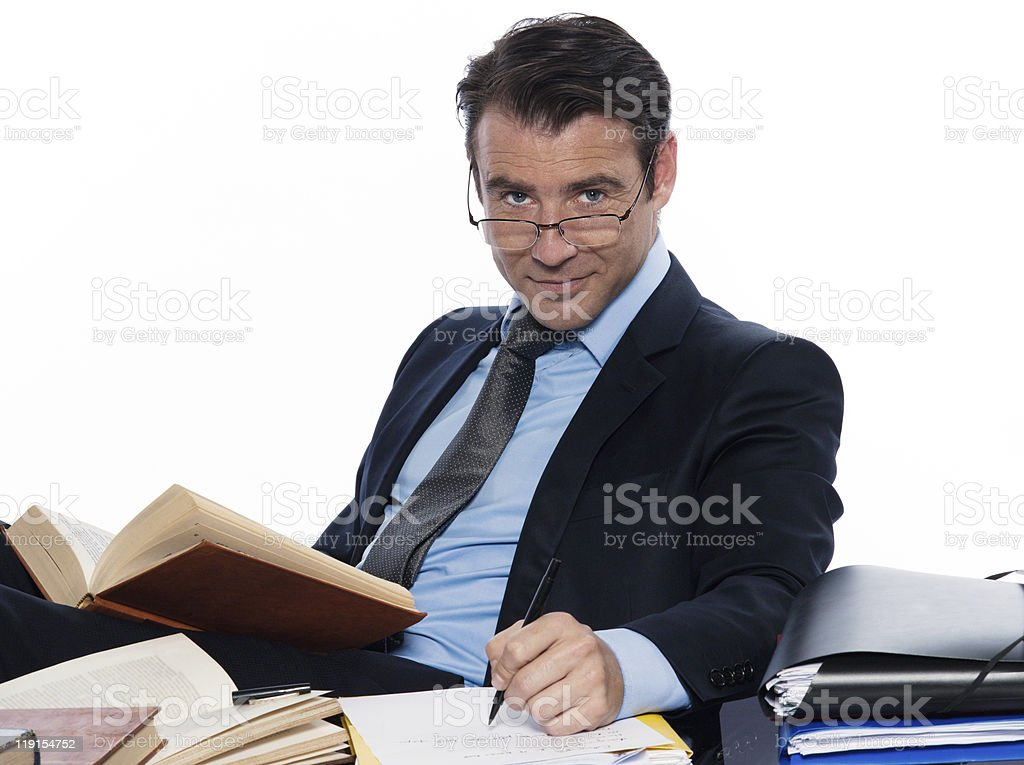 Man professor working busy  sitting at desk royalty-free stock photo