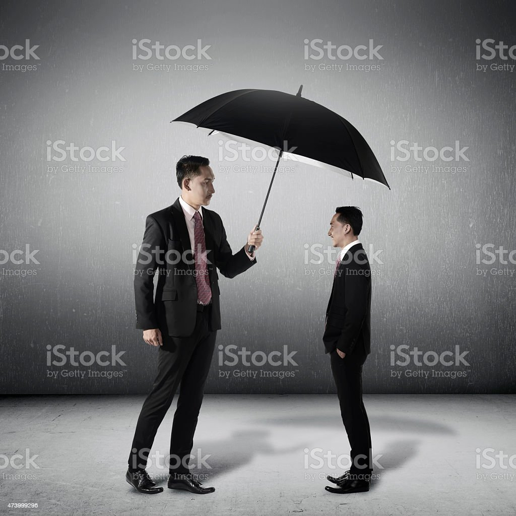 Man Protect Another Himself Conceptual stock photo